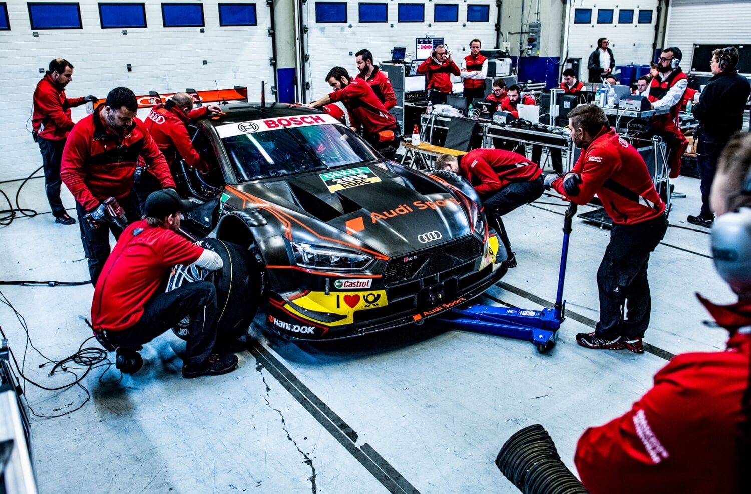 Audi Sport DTM race car - mechanics working